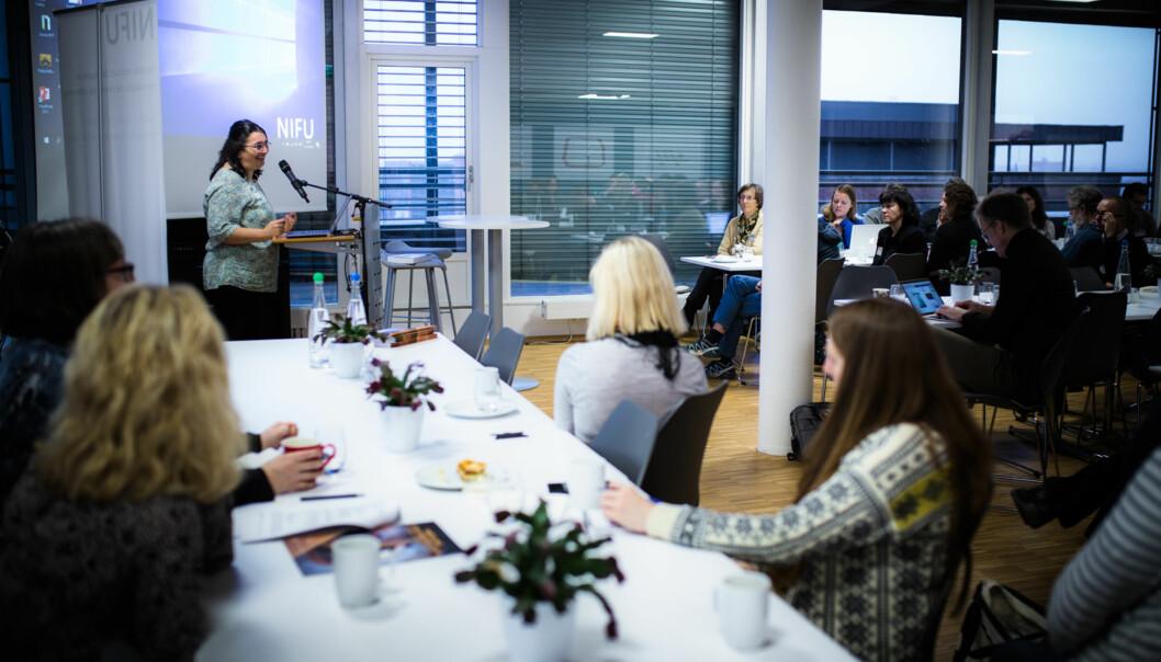 Nordisk institutt for studier av innovasjon, forskning og utdanning (NIFU) arrangerer regelmessig frokostseminarer som det på bildet.  Foto: Henriette Dæhli