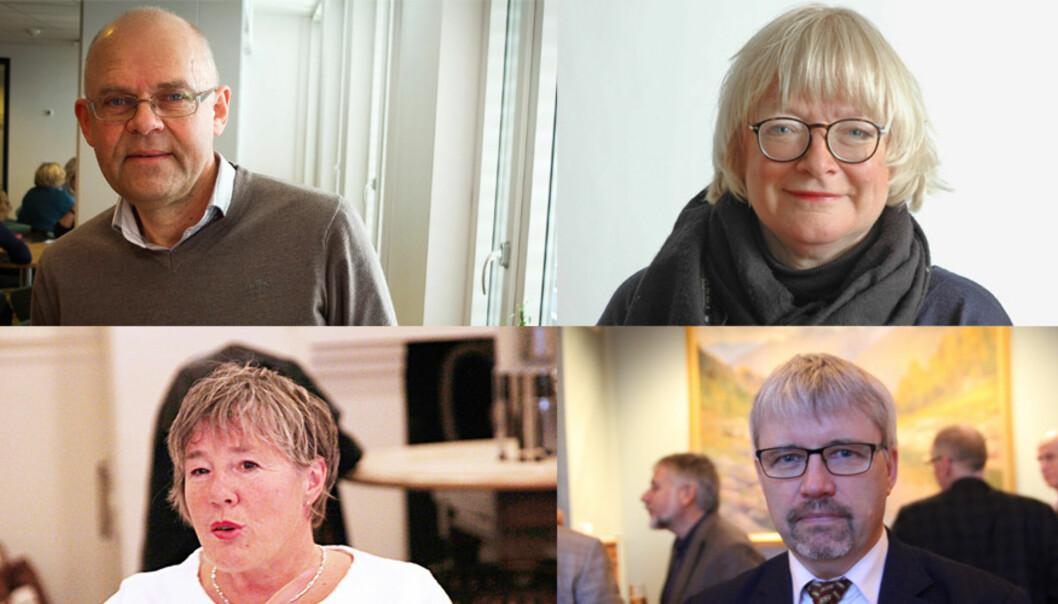 Øvst frå høgre, med klokka: Ole-Gunnar Søgnen (61), Berit Rokne (61), Geir Anton Johansen (56) og Liv Reidun Grimstvedt (55) kjempar alle om den nye jobben som rektor ved Høgskulen på Vestlandet. Torsdag denne veka blir truleg ein av deivald.