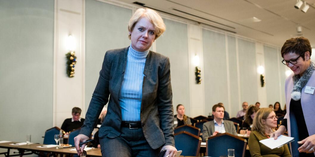 Marianne Aasen (Ap) på forskningspolitisk seminar i fjor høst. Arbeiderpartiet vil i sitt programforslag gjøre studiestøtte og studier merfleksibelt. Foto: Skjalg Bøhmer Vold