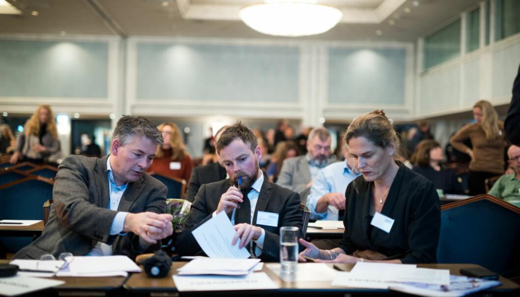 Kunnskapsminister Torbjørn Røe Isaksen på forskningspolitisk seminar i regiForskerforbundet. Foto: Skjalg Bøhmer Vold