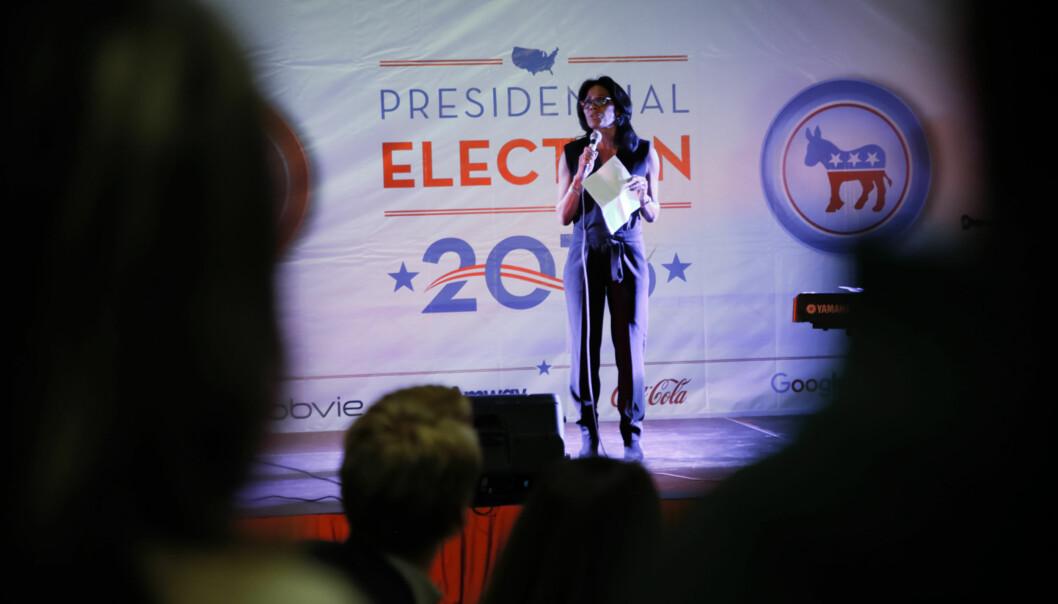 Slik så det ut da Lisa Cooper deltok på valgvake ved tidligere Høgskolen i Oslo og Akershus i 2016.