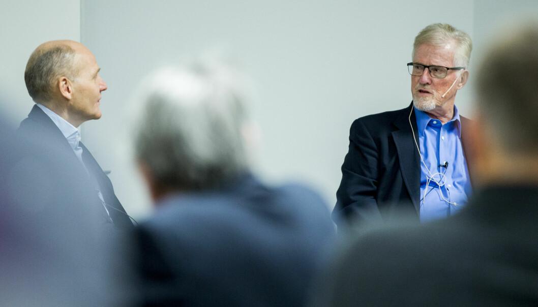 Gudmund Hernes (t.h) skal bidra til å finne ny rektor ved Universitetet i Oslo. Her i debatt med Sigve Brekke på BI i2015. Foto: Grøtt, Vegard Wivestad