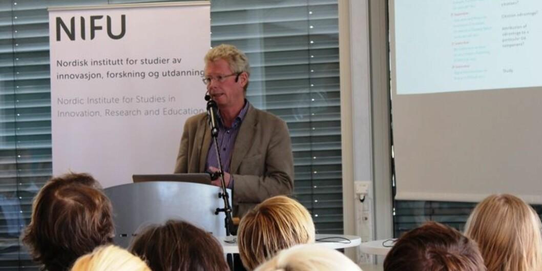 """Gunnar Sivertsen i <span class=""""caps"""">NIFU</span> utformet først publiseringsindikatoren, nå har han utredet hvordan den kan utvides med en siteringsindikator.Foto: JuliaLoge"""