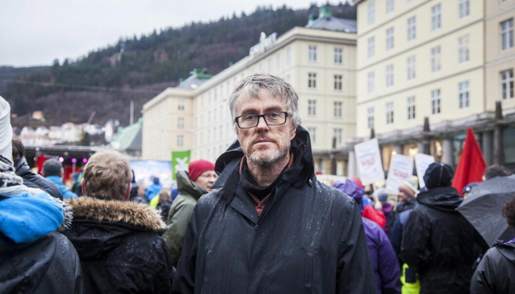 Streik 2015 - politisk markering på Torgalmenningen jan 2015. Steinar Vagstad Foto: Ingvild Festervoll Melien