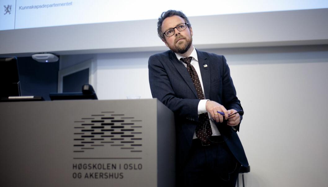 Torbjørn Røe Isaksen er godt i gang med sin plan for verdensledende norsk forskning og utdanning, men han er langt i fraferdig. Foto: Nicklas Knudsen