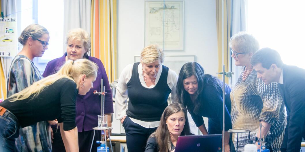 Erna Solberg og gjengen kommer på besøk på Høgskolen i Oslo og Akershus. Foto: Eskil Wie / Khrono Foto: Eskil Wie