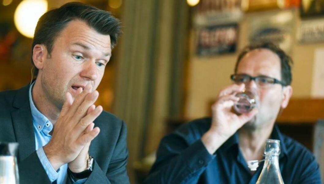 Utvalsleiar Torkel Brekke (t.v.) og generalsekretær Tore Slaatta i Norsk faglitterær forfatta-r og omsetjarforeining var ueinige i kva som ville bli fylgjene av forslaga til utvida open tilgang avforskingsresultat.