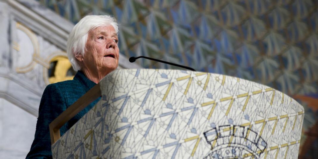 Astrid Nøklebye Heiberg var landets første kvinnelige psykiater som tok doktorgrad i 1980. Her avbildet i 2016 da hun var hovedtaler under sykepleierstudentenes avslutningsseremoni i Rådhuset.