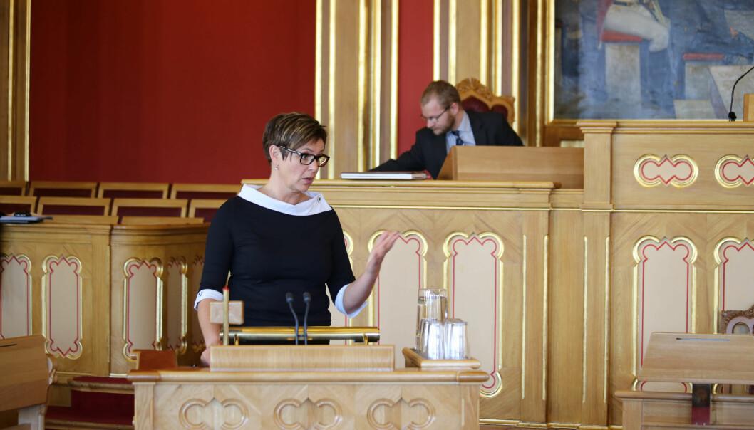 I forrige uke hadde Senterpartiets Anne Tingelstad Wøien en interpellasjon i Stortinget om den nye lærermasteren. Foto:Senterpartiet