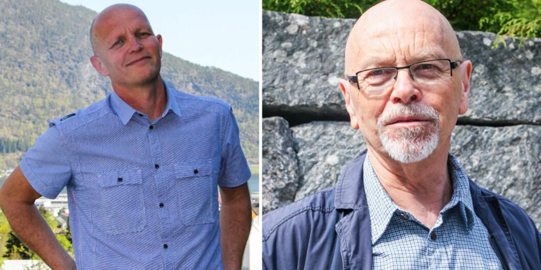 Oddbjørn Bukve (t.v) er initiativtakar til ei fråsegn til styret ved Høgskulen i Sogn og Fjordane som skal diskutera storfusjon på Vestlandet i dag. Gunnar Yttri  er ein av fleireunderskrivarar.