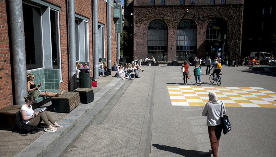 Høgskolen i Oslo og Akershus gjør seg klare til å ferdigutdanne flyktninger som har sykepleieutdanning eller lærerutdanning fra land utenfor EØS. Bildet er fra campus utenfor lærerutdanningen i Pilestredet52. Foto: Nicklas Knudsen