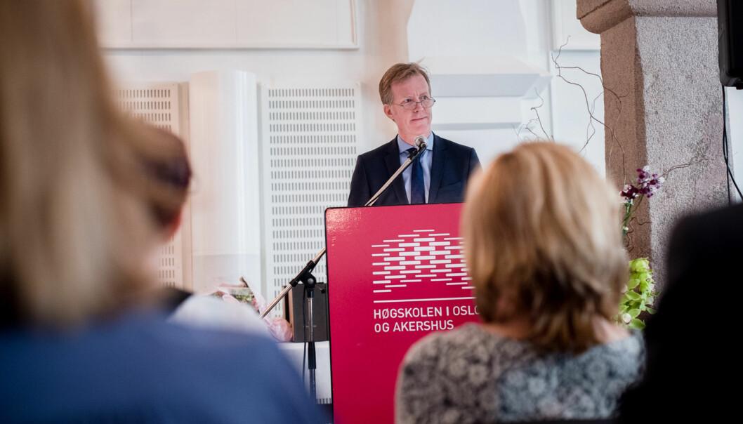 Rektor Curt Rice ved Høgskolen i Oslo og Akershus trenger penger til universitetssatsing og vil ha hånd om de ubrukte midlene som har hopet seg opp ved fakulteter ogsentre. Foto: Skjalg Bøhmer Vold