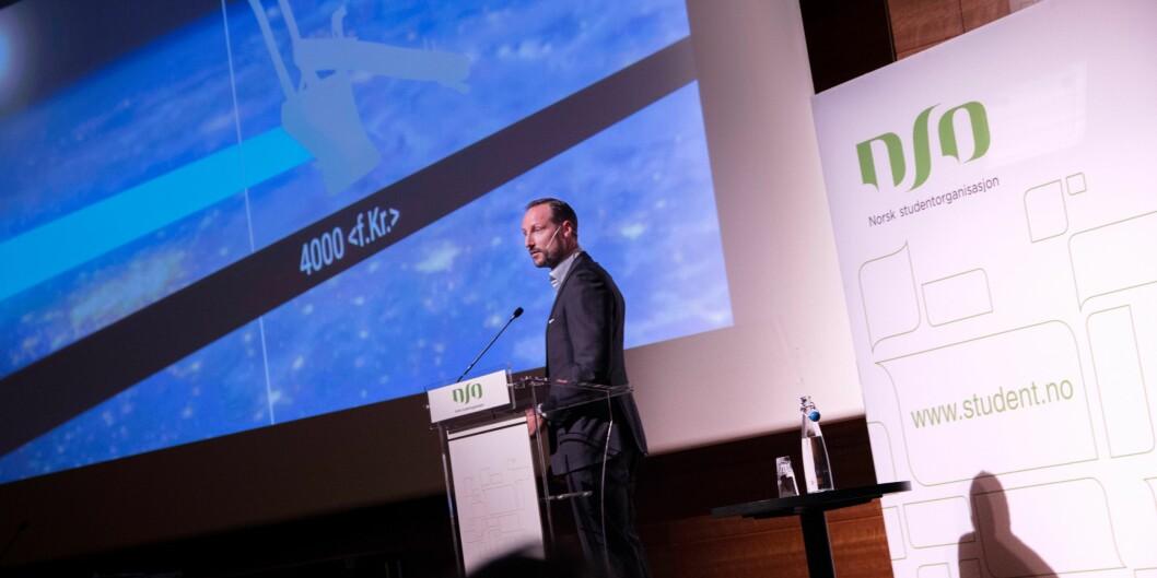 """Kronprins Haakon snakket til Norsk studentorganisasjons landsmøte om innovasjon i fortid og framtid. Foto: <span class=""""caps"""">NSO</span>/Jonas OhlgrenØstvik"""