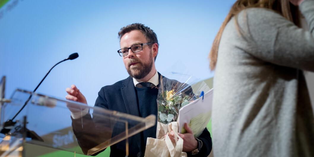 Kunnskapsminister Torbjørn Røe Isaksen talte til Norges studenter på første dag av landsmøtet til Norskstudentorganisasjon. Foto: Skjalg Bøhmer Vold