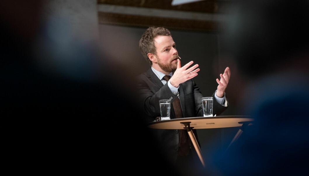 Kunskapsminister Torbjørn Røe Isaksen på Kontaktkonferansen 2016. Foto: Skjalg Bøhmer Vold