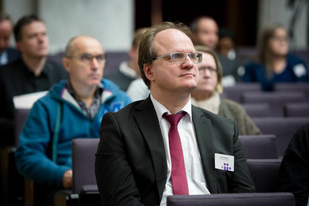 Rektor ved UiA, Frank Reichert, leder UHRs arbeid mot seksuell trakassering og mobbing. Her er han på Kontaktkonferansen 2016. Foto: Skjalg Bøhmer Vold
