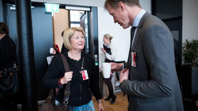 UiT-rektor Anne Husebekk og rektor på OsloMet, Curt Rice. Foto: Skjalg Bøhmer Vold