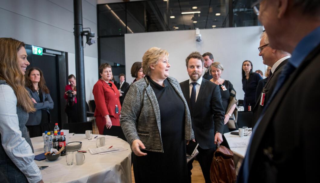 Regjeringen med Erna Solberg i spissen har blitt enige med KrF og Venstre om revidertbudsjett. Foto: Skjalg Bøhmer Vold