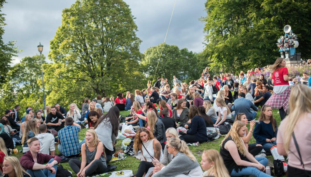 Andelen unge i gruppe under 25 år vokser mest. Her fra studiestart for Høgskolen i Oslo og Akershus påSt.Hanshaugen. Foto: Skjalg Bøhmer Vold