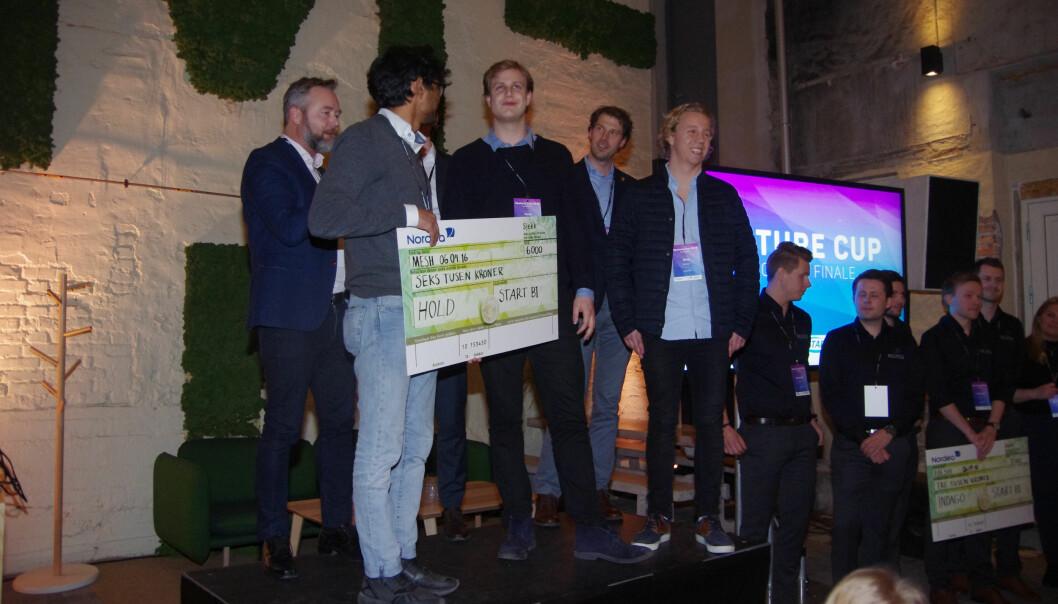 Mennene bak appen Hold slo ut både snigle- og stigbøye-innovasjonar under austlandsfinala i forretningsplankonkurransen VentureCup.