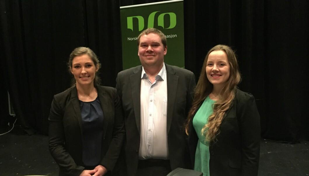 Ingrid Moe Albrigtsen, Bjørn Dinesen og Marianne Andenæs stilte til lederdebatt i direktesendt websending lørdag. Foto: NSO