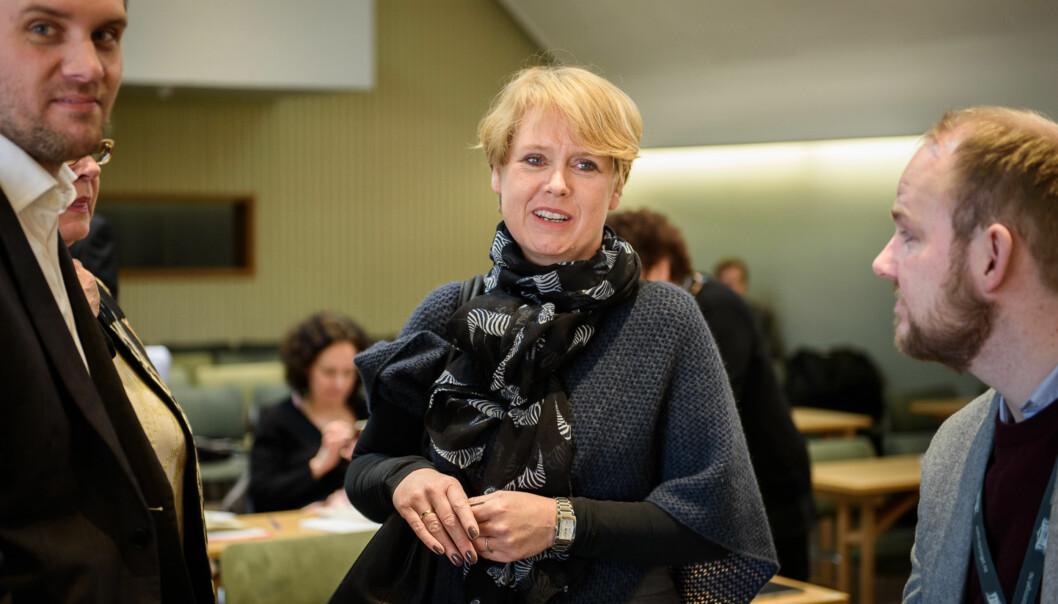 Marianne Aasen (Ap) er saksordfører på Stortinget i saken på lovforslaget om valgt eller ansatt rektor skal være det normale på norske universiteter oghøgskoler. Foto: John Trygve Tollefsen