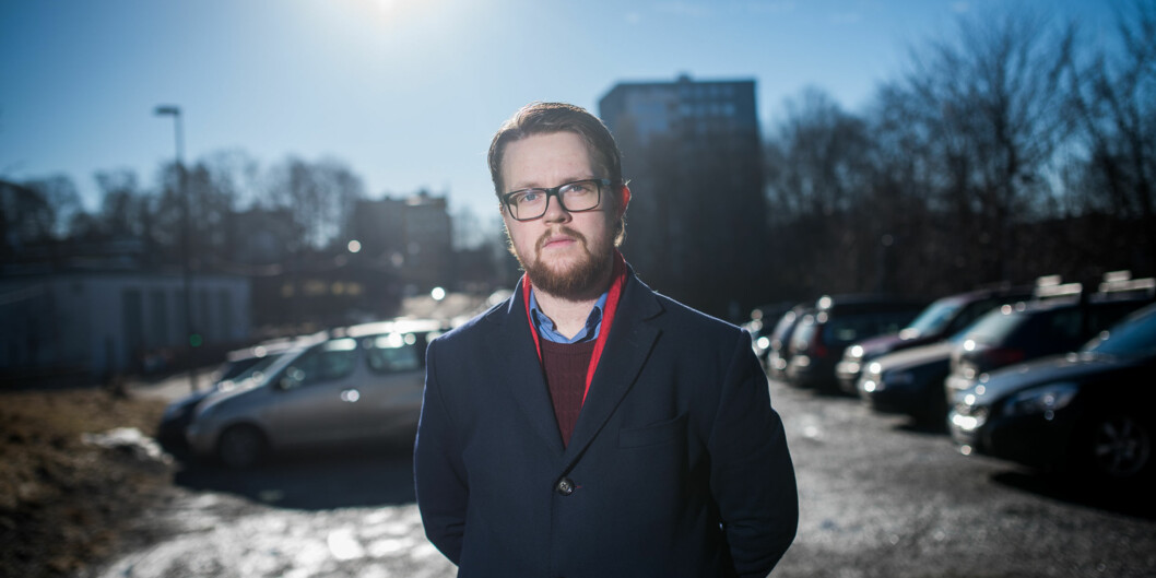 Velferdstingsleder Simen Eriksen reagerer på at byrådet i Oslo krever at Samskipnaden må bygge barnehage for å få lov til å bygge studentboliger i Blindernveien iOslo. Foto: Skjalg Bøhmer Vold