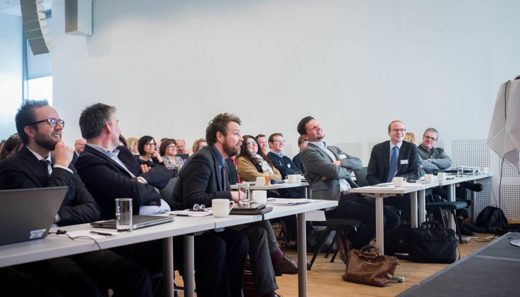 Torbjørn Røe Isaksen og Terje Mørland er fornøyd med resultater og erfaringer med nasjonal deleksamen i matematikk forlærerstudenter. Foto: Skjalg Bøhmer Vold