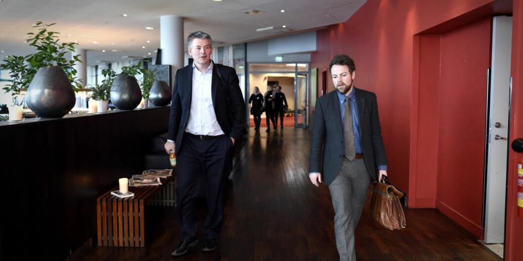 Statssekretær Bjørn Haugstad (t.v.) og statsråd Torbjørn Røe Isaksen deltok i dag på en større konferanse om framtidens lærerutdanning. Samtidig kom pressemeldingen om fordeling av rekrutteringsstillinger til de sammeutdanningene.