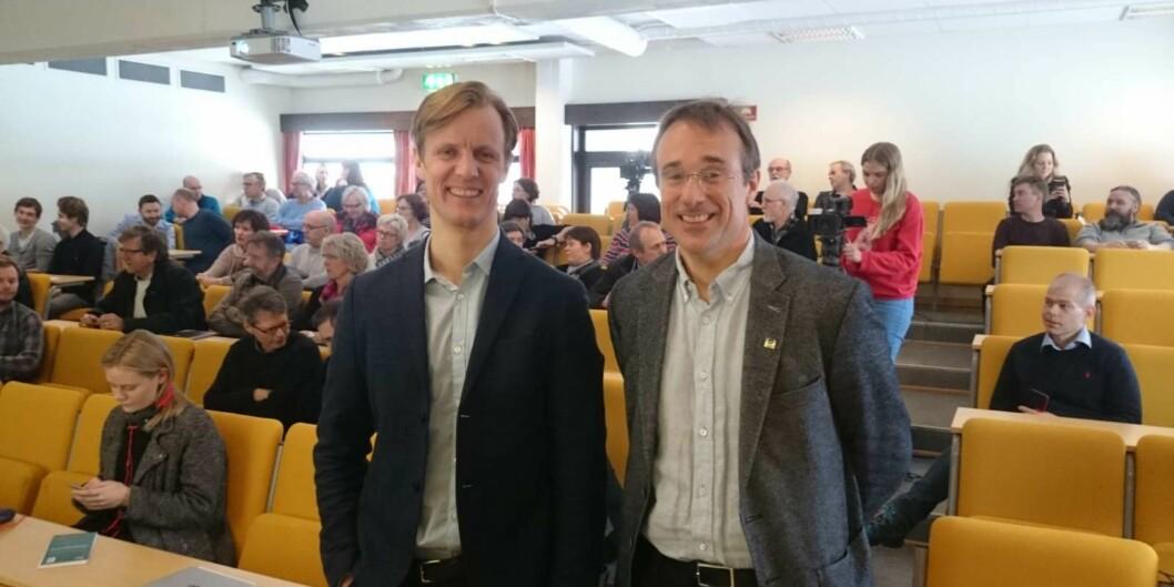 Onsdag 10. februar 2016 var det allmøte ved Høgskolen i Volda om  strukturdebatten. Her ser vi rektor Johann Roppen (t.h.) sammen prorektor Jens Standal Groven. Foto: Ellen Fredriksen, Nærnett