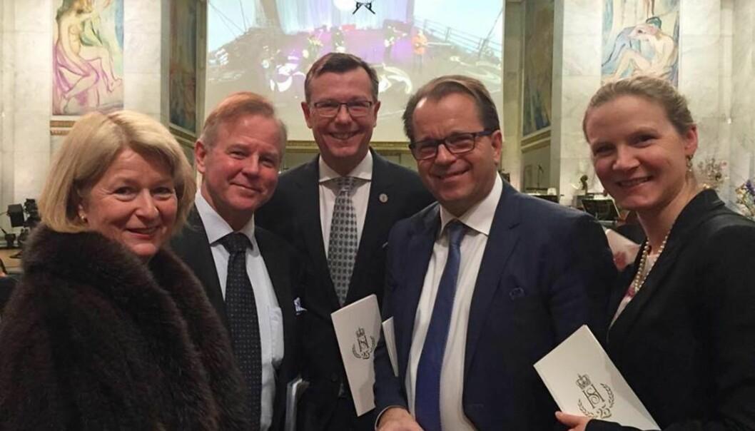 Fem av landets universitesrektorer samlet på ett brett: Fra venstre Anne Husebekk (UiT), Ole Petter Ottersen (UiO), Dag Rune Olsen (UiB), Bjørn Olsen (Nord universitet) og Mari Sundli Tveit (NMBU). Her fotografert under feiringen av kongeparet tidligere iår.