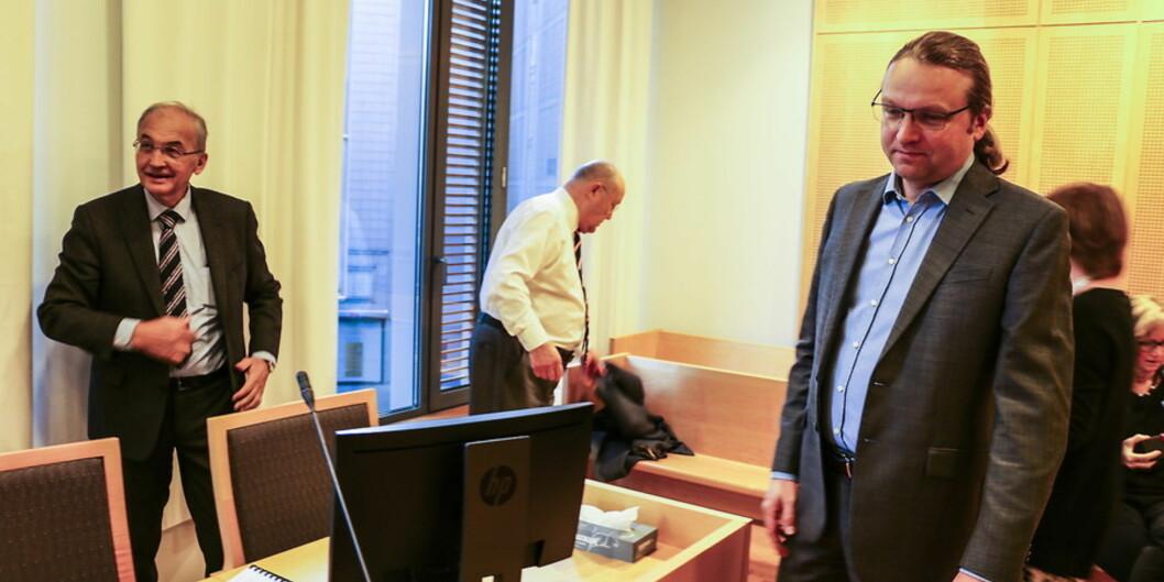 """Amund Gulsvik (til venstre) blei frifunnen frå kravet hans tidlegare arbeidsgivarar hadde stilt, om å betale kring 4,7 millionar kronar tilbake av løn han hadde fått utbetalt frå Innovest <span class=""""caps"""">AS</span>. Dermed må Trond Søreide (til høgre) på vegne av Helse Bergen saman med UiB ut med 3 millionarkroner."""
