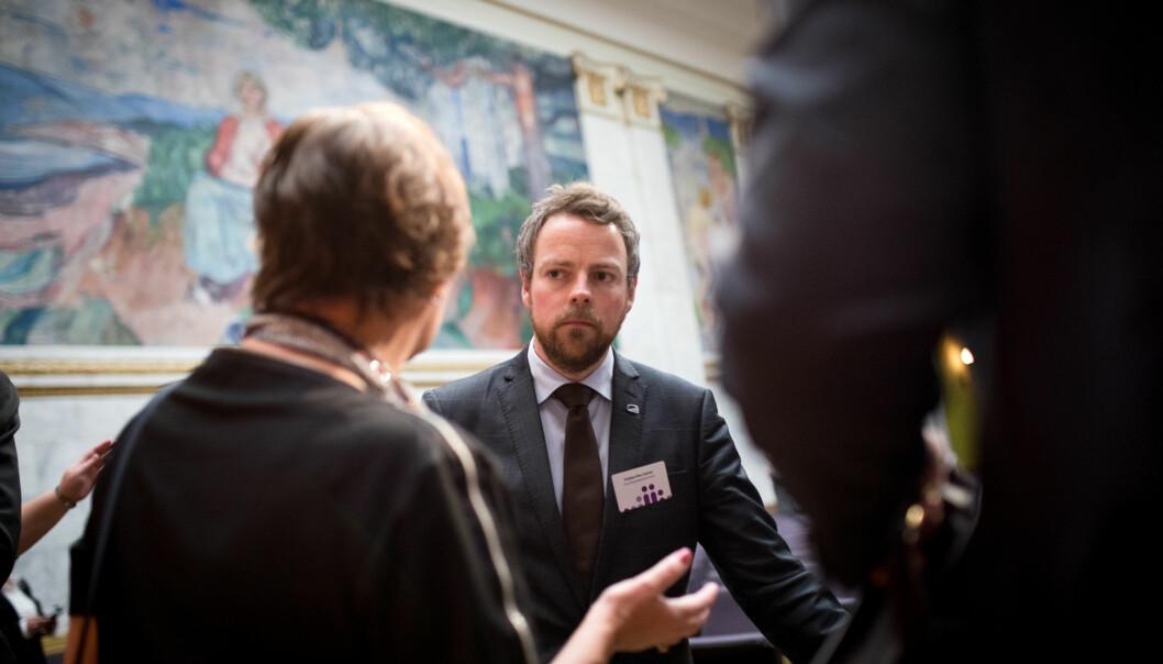 Kunnskapsminister Tobjørn Røe Isaksen på Kontaktkonferansen 2015. Foto: Skjalg Bøhmer Vold