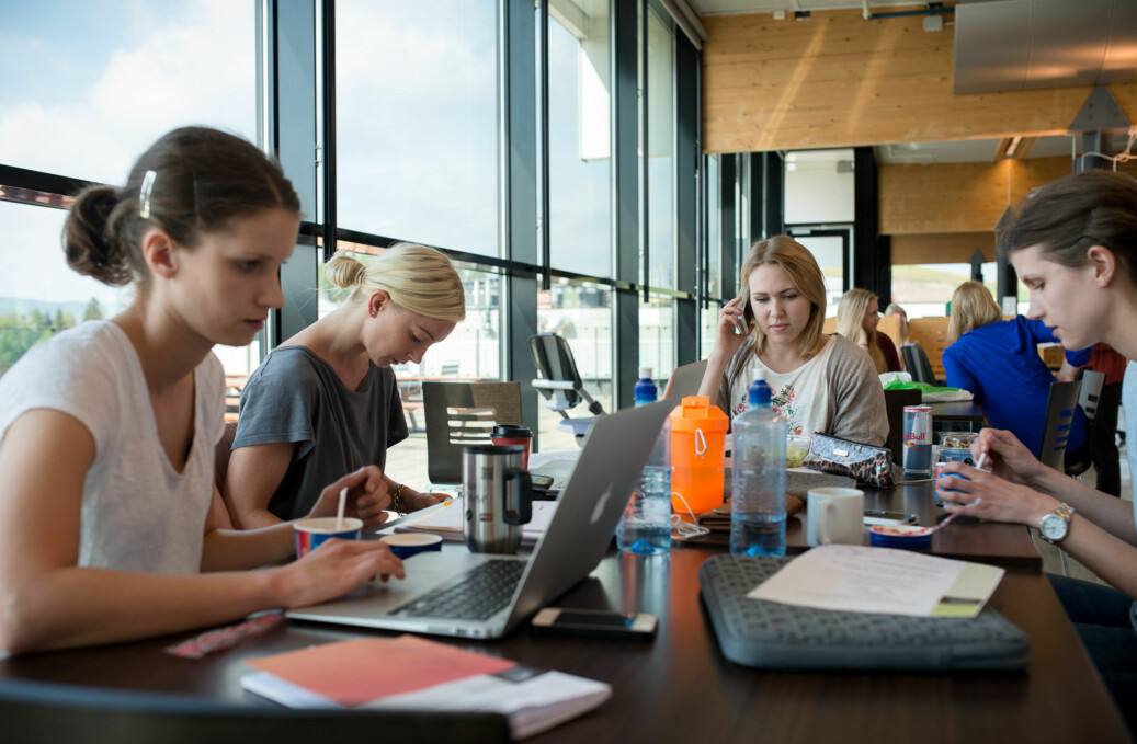 HiOA-studenter bruker fellesområdet utenfor biblioteket på Kjeller som lesesal. Foto: Skjalg Bøhmer Vold