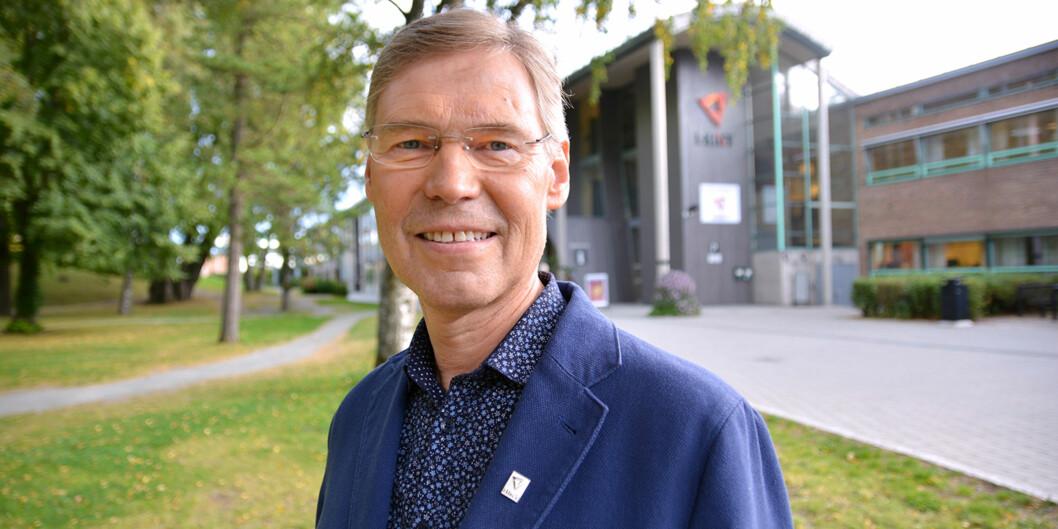 Rektor Steinar Nebb på Høgskolen i Nord-Trøndelag er godt fornøyd med plattformen for fusjon som ligger på bordet før styremøtene 30. september. Foto:HiNT