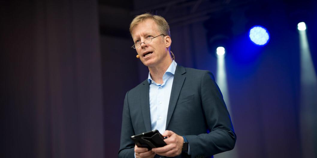 Han vil ha mer engelsk inn i norsk høyere utdanning og forskning. Utgjør det en fare for det norske språks framtid? Curt Rice skaper debatt som nyoppnevnt vara tilSpråkrådet. Foto: Skjalg Bøhmer Vold