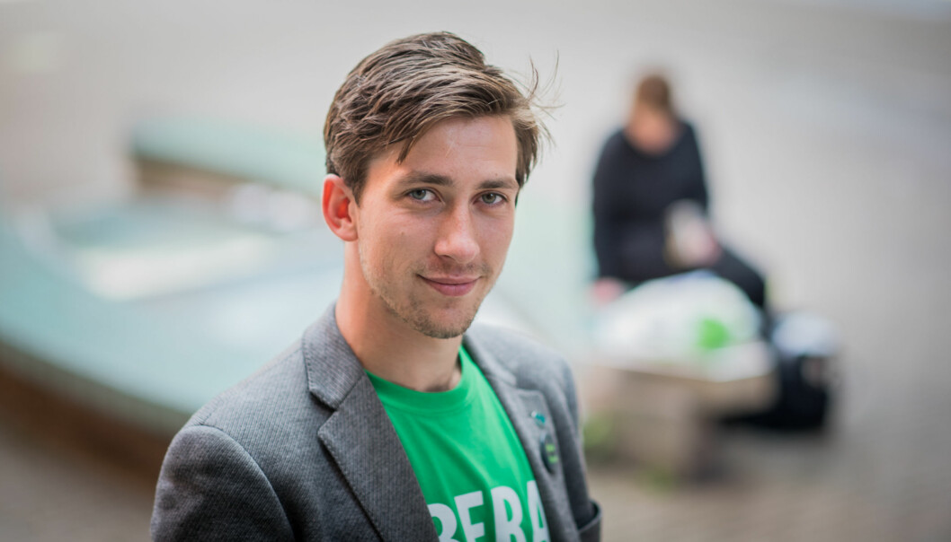 Morten Grinna Normann er student og står på Venstres liste til valget. Foto: Skjalg Bøhmer Vold