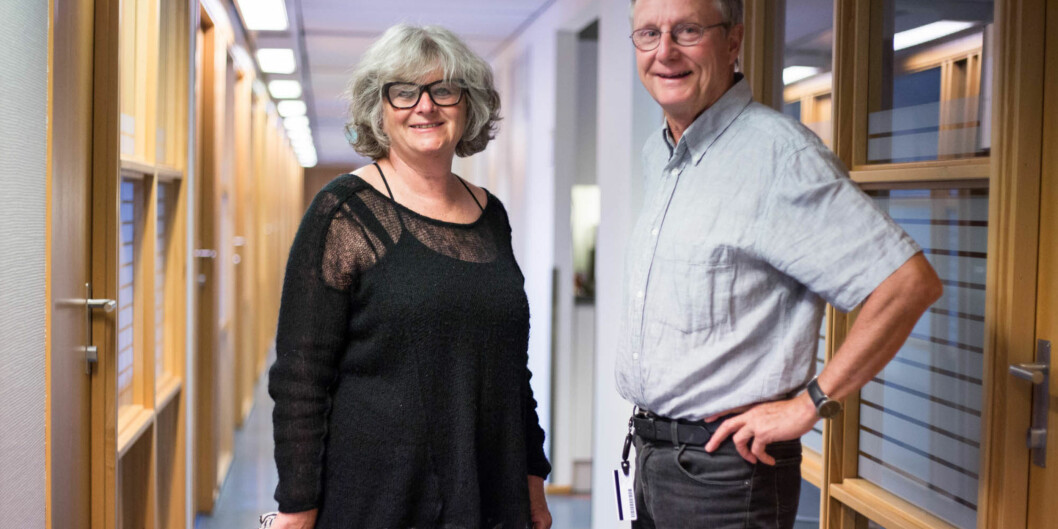 Professor emerita, Irene Levin og professor emeritus Steinar Stjernø smiler etter at de kan nå sende epost til sine forskerkolleger verden rundt med ordinær epostadresse frahøgskolen. Foto: Øyvind Aukrust