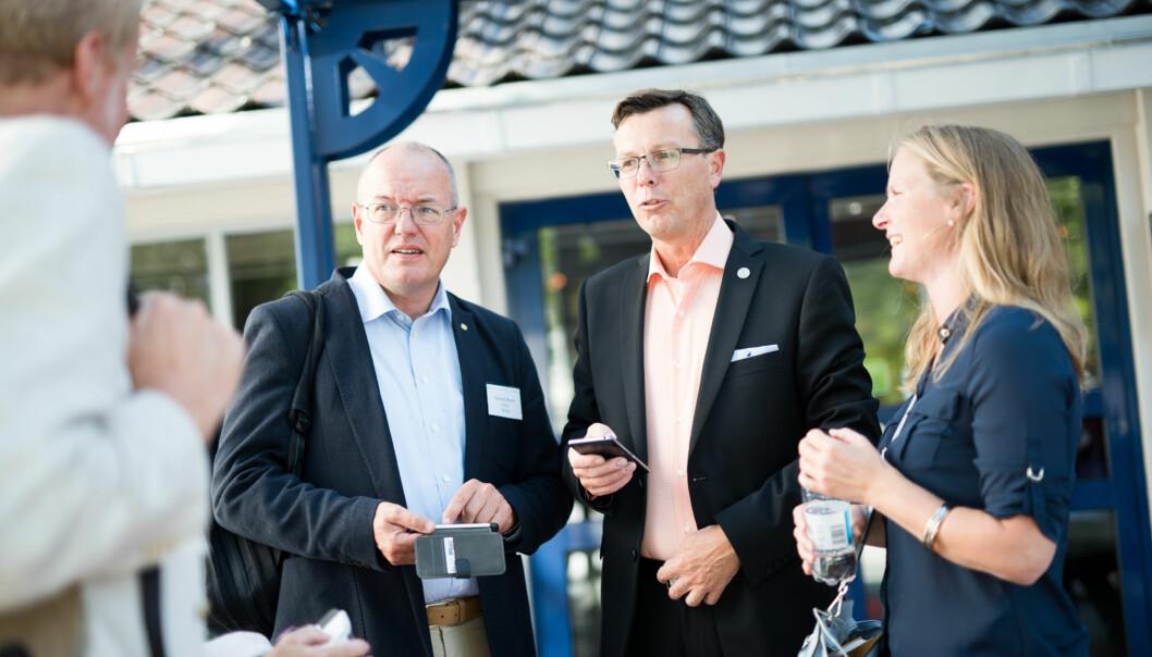 U5-rektorene, her ved tre av dem, Gunnar Bovim, (NTNU), Dag Rune Olsen (UiB) og rektor på NMBU Mari Sundli Tveit, skal etter planen møtes sammen med Svein Stølen fra UiO og Anne Husebekk fra UiT Norges arktiske universitet til