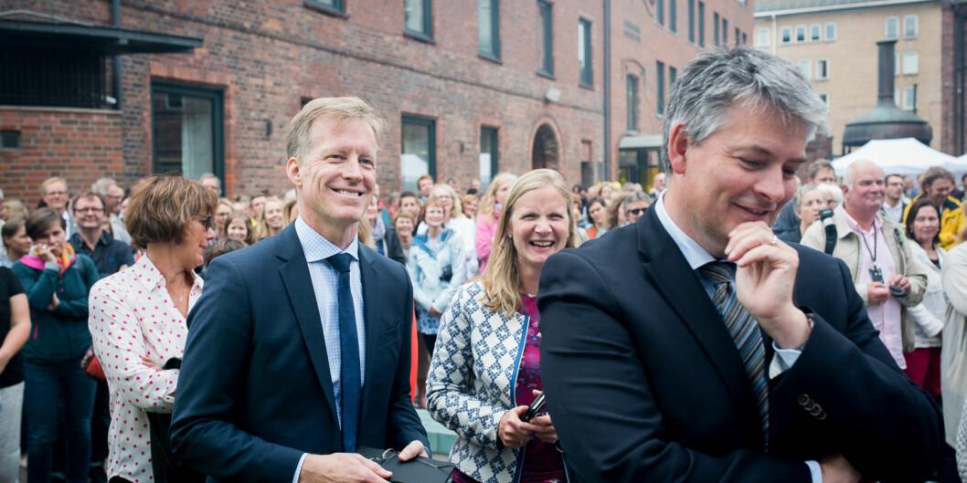 Rektor Curt Rice, Rektor på NMBU Mari Sundli Tveit og Statssekretær i Kunnskapsdepartementet Bjørn Haugstad. Foto: Skjalg Bøhmer Vold