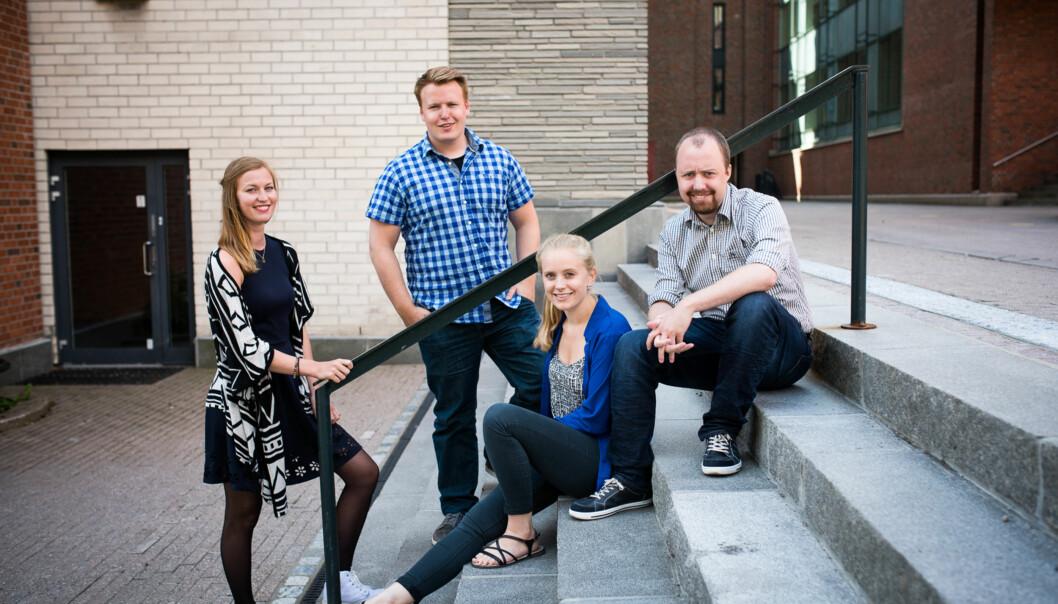 Studentparlamentet på HiOA. F.v: Anette Myklemyr Magnussen, Christoffer Storm Tiller Alsvik,  Ane Larsen Mjøen og Steinar Olberg. Foto: Skjalg Bøhmer Vold