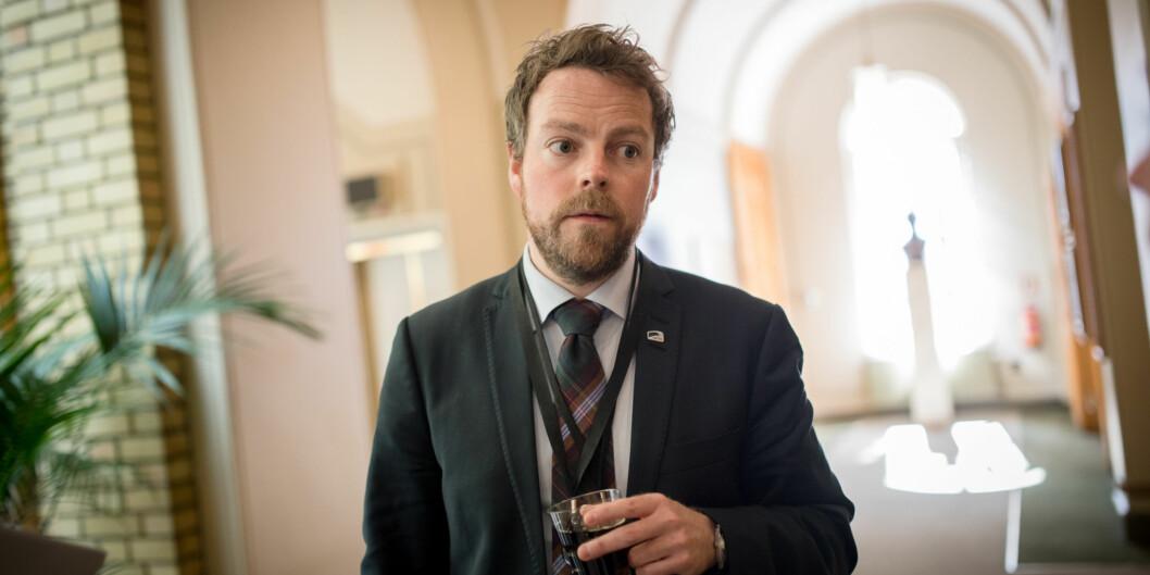 Kunnskapsminister Torbjørn Røe Isaksen under stortingsbehandlingen av strukturmeldingen for høyere utdanning. Foto: Skjalg Bøhmer Vold