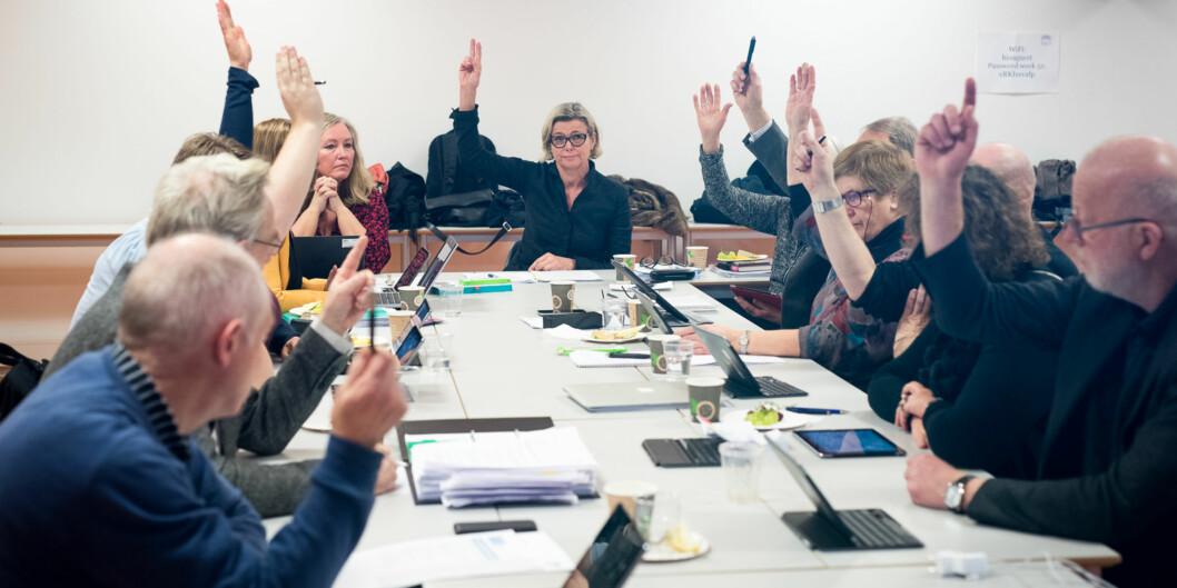 Nå er totalt 7 av 11 av medlemmer som skal sitte i høgskolestyret den neste perioden klare. Her fra et tidligerestyremøte. Foto: Skjalg Bøhmer Vold