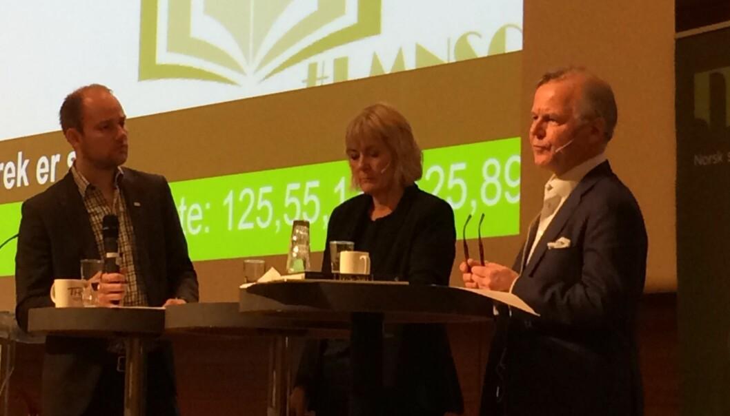 """<span class=""""caps"""">NSO</span>-leder Anders Kvernmo Langset ledet debatten mellom Kristin Clemet og Ole Petter Ottersen på studentenes landsmøte påLillestrøm."""