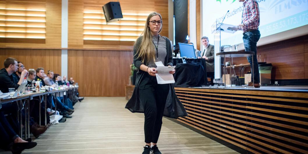 Therese Eia Lerøen, neste leder av Norsk studentorganisasjon, på helgenslandsmøte. Foto: Skjalg Bøhmer Vold