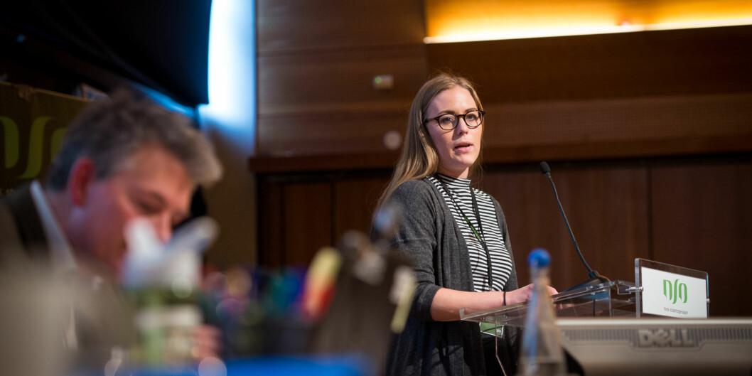 Leder av Norsk studentorganisasjon, Therese Eia Lerøen, er skuffet over at studentenes levekår ikke vil kartlegges som lovet i2016. Foto: Skjalg Bøhmer Vold