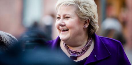 Erna Solberg og gjengen kommer på besøk på Høgskolen i Oslo og Akershus. Foto: Eskil Wie / Khrono