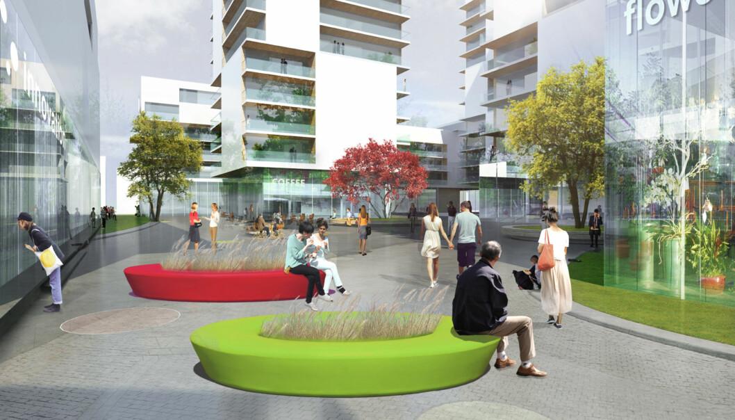 Slik ser arkitektene for seg nye Campus Lillestrøm, som Grund-utvalget også ønsker seg. Illustrasjon: ØieEieindom