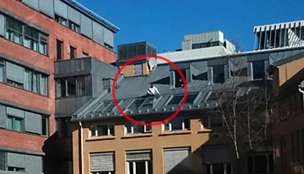 En mann er observert arbeidende på taket fire etasjer over bakkeplan. Foto: ErikStewart