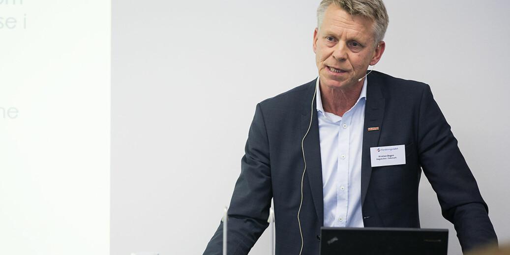 Prorektor Kristian Bogen ved Universitetet i Sørøst-Norge forteller om klare ambisjoner for tette bånd til arbeids- og næringsliv. Foto: Øyvind Aukrust
